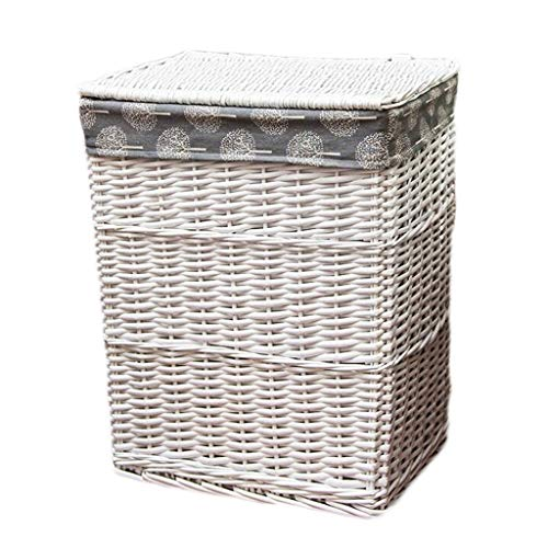 Heding Portable With Lid Laundry Basket Rattan Cotton Burlap Lining Dirty Hamper Clothes Sundries Home Storage Basket (Color : White, Size : 44 * 34 * 50cm)