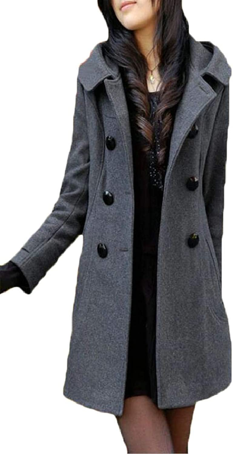 Womens Large Size DoubleBreasted Lapel Wool Blend Pea Coat Overwear