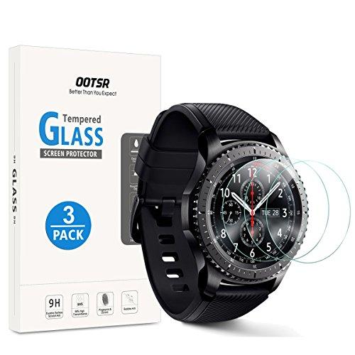 OOTSR (3 Piezas) Protector de Pantalla para Samsung Gear S3 Vidrio Templado Protectora para Samsung Gear S3 Frontier/Classic [Alta definición][Resistente a los arañazos]