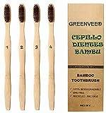 Greenvee - Juego de cepillo de dientes de bambú - 4 cepillos de dientes de bambú numerados, pelo medio con carbón activo