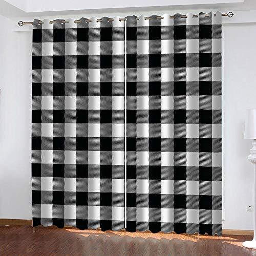 Muxiand Verduisteringsgordijn, thermisch, geïsoleerd, met oogjes voor ramen, woonkamer, interieur, rooster in wit en zwart