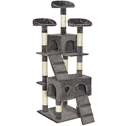 TecTake Tiragraffi per gatto gatti palestra altezza complessiva 170 cm - disponibile in diversi colori - (Grigio | no. 401115)