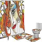 Juego de cortinas baño Accesorios baño alfombras Resumen Alfombrilla baño Alfombra contorno Cubierta del inodoro Retrato de la joven mujer con cabello rojo y flores florecientes y arte de maquillaje,m