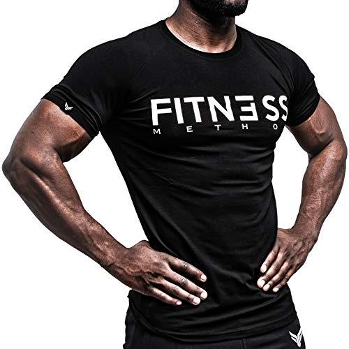 Fitness Method, Sport T-Shirt Herren, Slim-Fit Shirt bequem & hochwertig Männer, Rundhals & Tailliert, Training & Freizeit, Gym & Casual Workout Mann, 95{1da318caaf498dd7589a8bb1461a97d0f02a7a94ea5dd3e5cdab019016e1d640} Baumwolle, 5{1da318caaf498dd7589a8bb1461a97d0f02a7a94ea5dd3e5cdab019016e1d640} Elastan