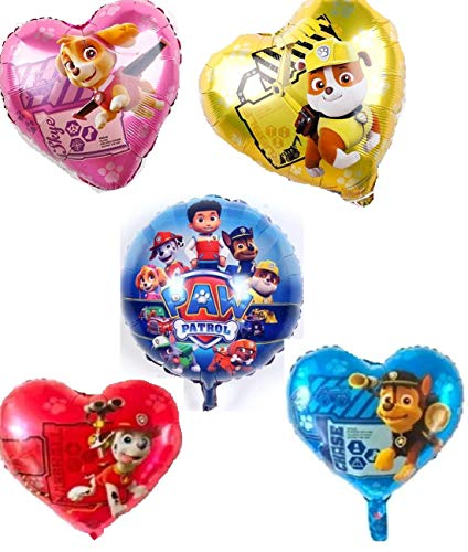 Generisch Ballon XXL Folienballon Luftballon - Paw Patrol Hund - Kindergeburtstag Deko Dekoration(Set mit 5 Ballons)