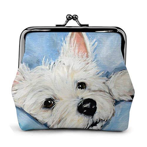 Trista Bauer West Highland White Terrier Blue Dog Themed Vintage Pouch Girl Kiss-Lock Monedero Monedero Monederos Hebilla Monederos de Cuero Llavero Mujer Impreso Novedad Mini