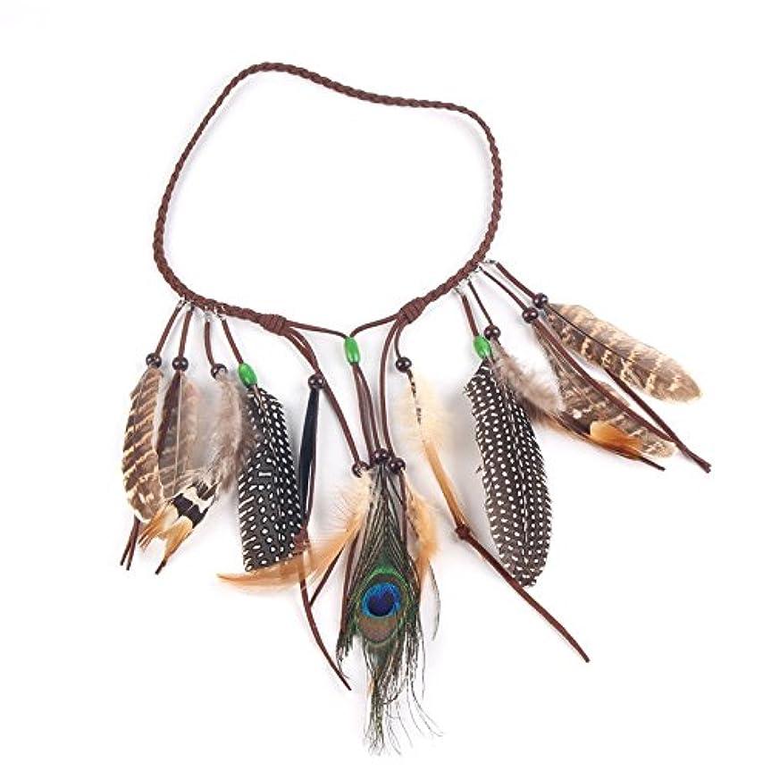 避難保持再集計Gaoominy ネイティブアメリカンインディアン羽毛ヘッドバンド祭り髪飾りヘアアクセサリー女性用