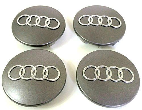 Set di quattro coprimozzo grigi per cerchi in lega da 68 mm 8B0 601 170, adatti per Audi A3 A4 A5 A6 A7 A8 S4 S5 S6 Q3 Q5 Q7 TT A4L A6L S Line Quattro e altri modelli 8D0601170
