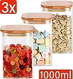 Tarro de almacenamiento de vidrio con tapa Juego de 3 cuadrados - Estanco - 6 sellos - 1L - Apto para lavavajillas