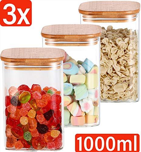 Praknu Vorratsdosen Glas mit Deckel 3er Set Eckig - Luftdicht - 6 Dichtungen - 1L - Spülmaschinenfest