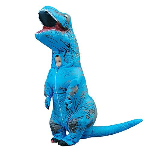 JJAIR Disfraz Inflable de fantasía de tiranosaurio Azul Vestido de Dinosaurio de Halloween Inflar Disfraces para Adultos/niños,Kid