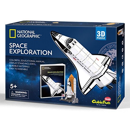 CubicFun 3D Kids Puzzles Boy Toys NASA Space Discovery Model Game jigsaw Kits with Booklet Gift for Children 5 6 7 8 9 10 Year Olds, 65 Pieces