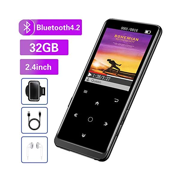 "32GB MP3 Player, Mibao MP3 Player with Bluetooth 4.2, Music Player with FM Radio, Recording, 2.4"" Screen, HiFi Lossless Sound, Support up to 128GB(Earphone, Sport Armband Included) … 3"