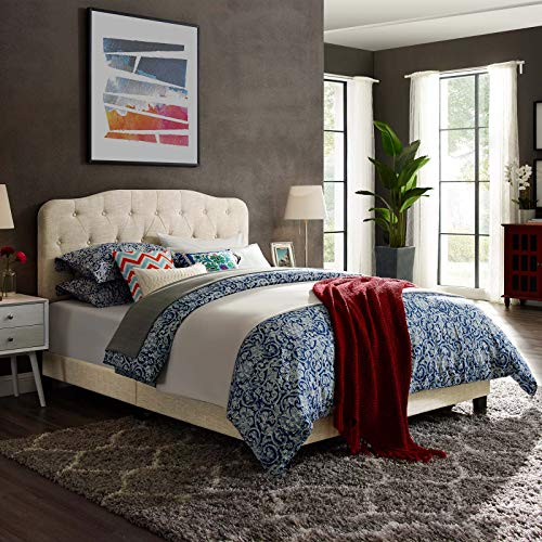 Modway Amelia Tufted Fabric Upholstered Queen Platform Bed in Beige