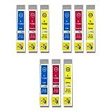 3 GB Inks - Juego de 3 cartuchos de tinta compatibles con Epson T0715 (C/M/Y) para impresoras Epson Stylus (9 tintas)