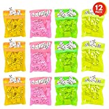ArtCreativity Domino Game Set - Pack of 12 - Each Domino Set Includes 28 Pieces Per Neon Pink, Yellow, Green and Orange Bags - Great School, Carnival Prizes - Awesome Party Favor - Fun Game for Kids