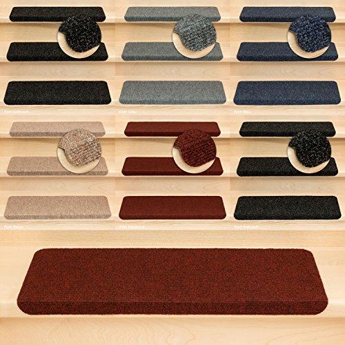 Kettelservice-Metzker Stufenmatten Treppenmatten Ramon Rechteckig - 5 Farben - 15 Stk. Bordeaux incl. 1 Reinigungstuch