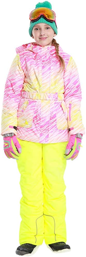 GS SNOWING Girl's Winter Thicken Ski Suit Pink Jacket and Pants