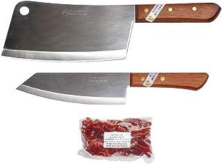 Kiwiandkomkom Lot de 2 couteaux de cuisine Thai Chef en acier inoxydable #850#173 + 30 g Thai Chilli aiguisé de l'Isaan No...