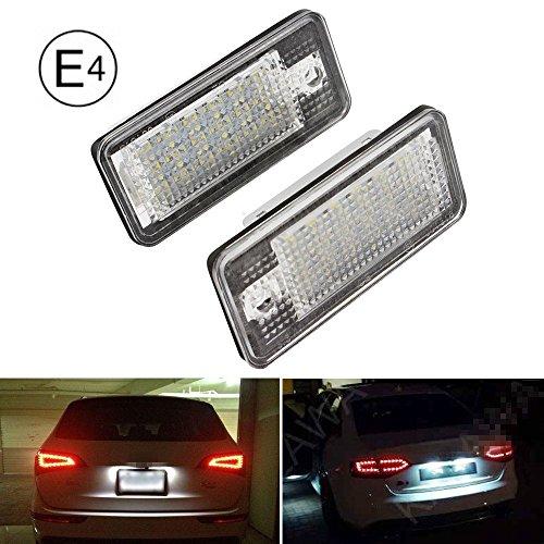 E-Mark Licht Weiß Kit LED Kennzeichenleuchte Canbus fit für A3 S3 A4 S4 Q7(2 PSC).