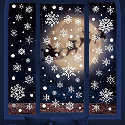 HONEYJOY 350 PCS Christmas Decorations Navidad Snowflake Window Decals Stickers Clings Xmas product image