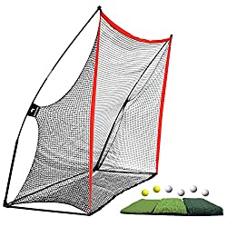 Super Value Bundle: Includes the 10 x 7 feet Golf Net ($99.99) Tri-Turf Golf Mat ($59.99) and 6 Golf Balls with 1 Carrying Bags. Definitely save your money! Enjoy the Fun of Golf Swing at Home: Set up your driving range just in minutes! You can use t...