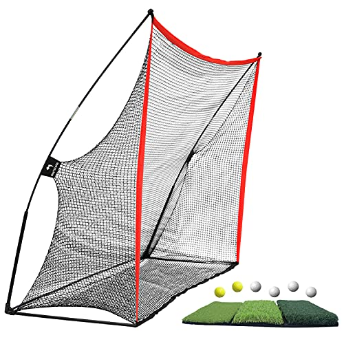 WhiteFang Golf Net Bundle Golf Practice Net 10x7 feet with Golf Chipping Nets Golf Hitting Mat & Golf Balls Packed in Carry Bag for Backyard Driving Indoor Outdoor (3 in 1)