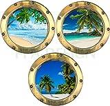 PPA DESIGN Sticker Mural Trompe l'oeil Hublot Plage Palmiers - Pack de 3 Hublots - Packhu023 - Plusieurs Dimensions Disponibles * (20x20cm)