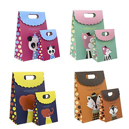 8 PCS Bolsa de Papel Animal Hecha de Papel Kraft Cierre de Velcro usado para Fiesta Infantil, Cumpleaños