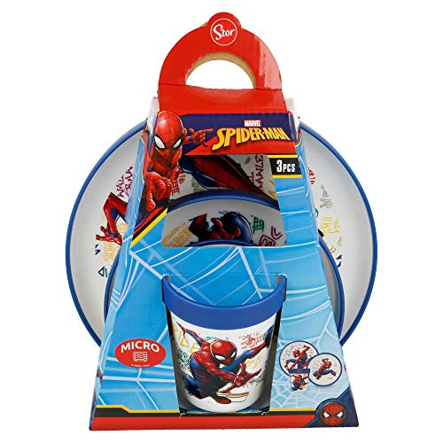 SET PREMIUM BICOLOR 3 PCS (PLATO, CUENCO y VASO 260ML) SPIDERMAN GRAFFITI