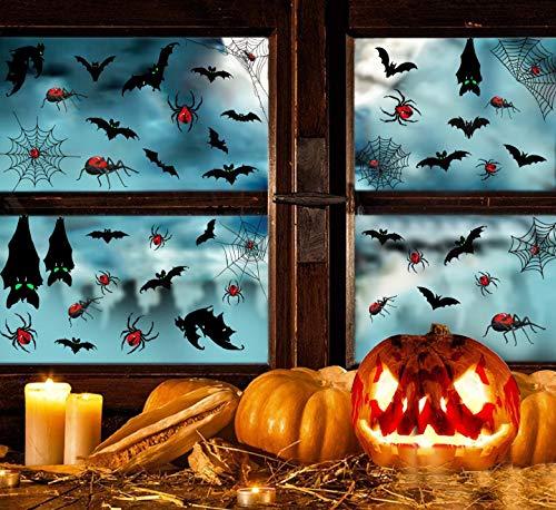 105 PCS Halloween Dekoration Aufkleber Realistisch Sticker Spinnennetz Spinnen Schläger Fledermäuse Halloween Fensteraufkleber Wandtattoo Wandaufkleber Aufkleber wiederablösbar Horror Sticker