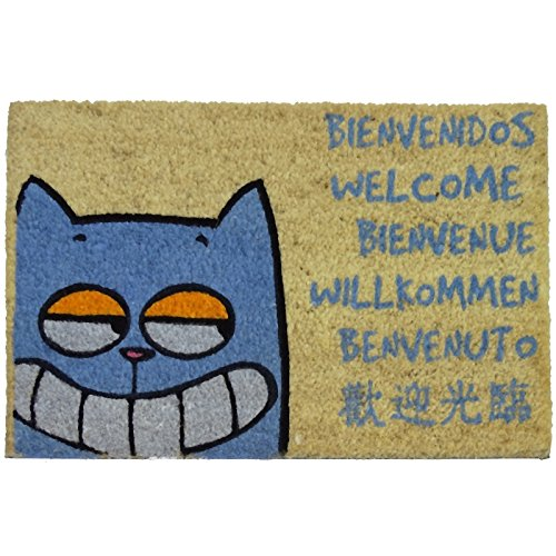 koko doormats Felpudo para Entrada de Casa Gato Bievenido Original y Divertido/Fibra Natural de Coco con Base de PVC, 40x60 cm
