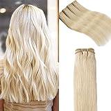 Extension Cheveux Naturel Blond 100g - Tissage Meche Bresilienne Lisse 100% Vrai Cheveux Humain (#60 BLOND PLATINE, 50 cm)