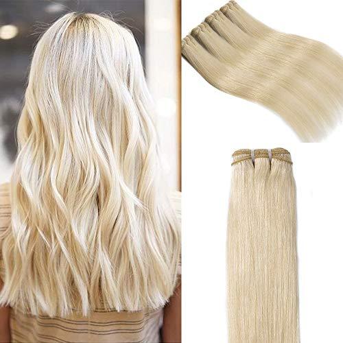 Extension Capelli Veri Tessitura Lisci Biondo Matassa Grado 7A - 100% Remy Virgin Human Hair Naturali Umani Brasiliani, 60# Biondo Platino 55cm 100g
