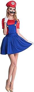 thematys Super Mario Luigi Gorra + Vestido + Barba + Guantes - Conjunto de Vestuario para Mujer Carnaval y Cosplay (S, 150cm-155cm)