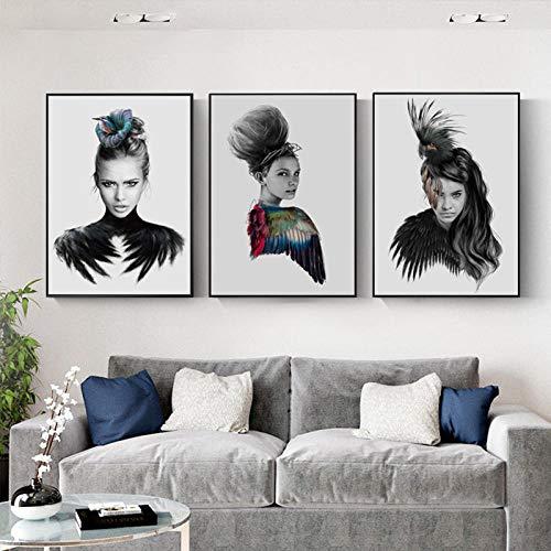 None brand Póster de Arte de Pared nórdico Blanco y Negro pájaro de Belleza Mujer con alas de Colores Lienzo Pintura póster Impresiones decoración del hogar sin Marco-A_30x40cmX3