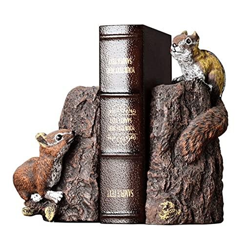 Juego de sujetalibros decorativos de resina rústica con extremo de libro, para libros pesados, decoración de libros