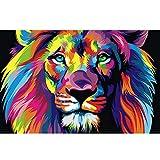 EBONP Impresiones Lienzo Decorativos Acuarela León Pop Art Carteles e Impresiones Animales Abstractos Arte Pinturas murales Cuadros Imágenes para la decoración de la Sala de estar-24x40inch