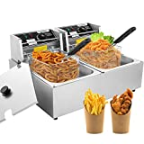 Professional-style Deep Fryer with Dual Baskets, 3600W 2x6L Stainless Steel Electric Commercial Deep Fryers, for Turkey French Fries Home Kitchen Restaurant, Total Capacity 12.7QT/12L (12L)