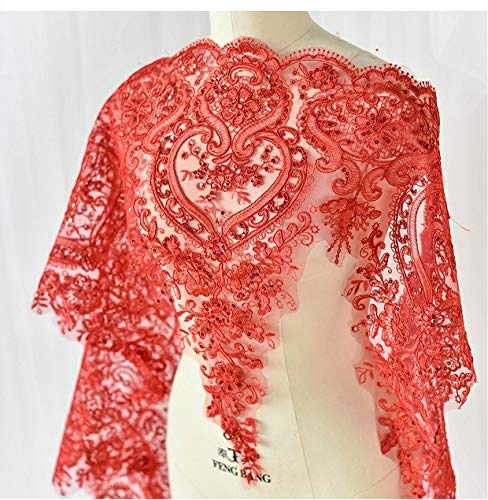 3d Lace Applique Flower Patch Sequin Trim Great for DIY Decorated Craft Sewing Costume Evening Bridal Top A7 (Red)
