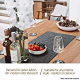 Miqio ® - Design Tischläufer aus Filz abwaschbar | Marken Label aus Echtleder | Tischband 150x40 cm | Skandinavische Deko - passend Tischsets, Platzsets, Tischdecken | dunkel grau - 8