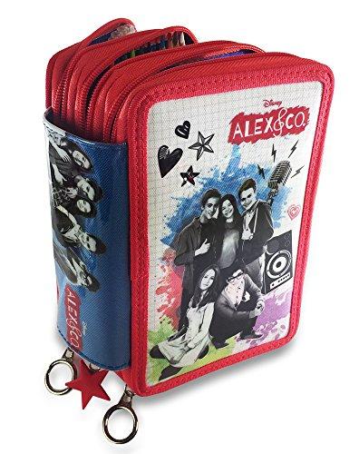 Alex&Co Triplo Astuccio, 20 cm, Rosso, poliestere