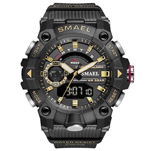 JTTM Hombre Relojes, Al Aire Libre Deportes Multifuncional Analógico Y Digital Deporte Relojes LED Relojes De Pulsera Men Watches,Black Gold