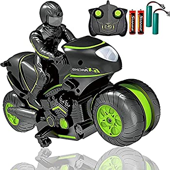 Masefu RC Stunt Car with Extra Batteries Remote Control Motorcycle Stunt Power Wheel Motorcycle Car - 2.4 GHz High Speed 360° Spinning Action Drift Racing Motorcycle for Boys Girls 5-12 Years Kids