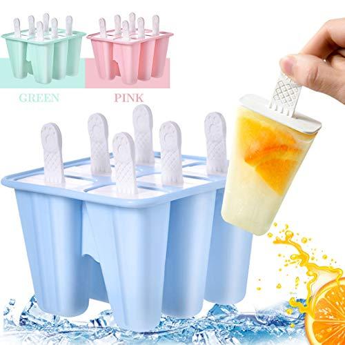 Moldes para Helados, Reutilizable Moldes, Paletas Libres de BPA Grado Alimenticio, Moldes Casero, Helados, para Bebés y Adultos, Azul, 6 Unidades