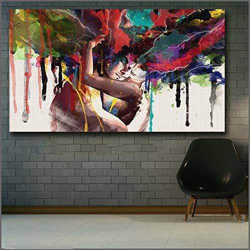 mmzki Liebe Kuss Ölgemälde Leinwand Kunst Malerei Für Wohnzimmer Wand-dekor HD Gedruckt Leinwand Poster Dekorative Bilder Abstrakte Schmerzen S 50X70 cm