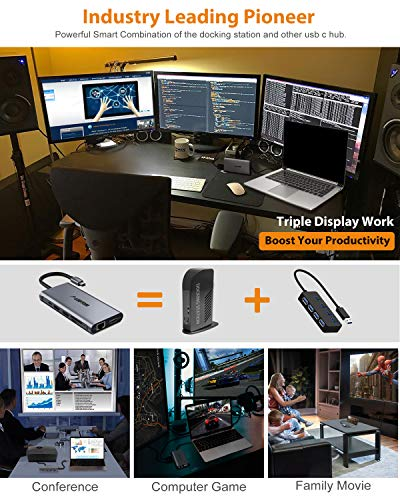 USB C Hub, Laptop Docking Station, Triple Display, Ludtom 11 in 1 Typ C Adapter für 2 HDMI , VGA , Ethernet , SD / TF Karten, 2 * USB 2.0,2 * USB 3.0, PD Aufladung, Kompatibel für Windows, MacBook