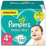 Pampers Windeln Größe 4+ (10-15kg) Baby Dry, 152 Stück, MONATSBOX