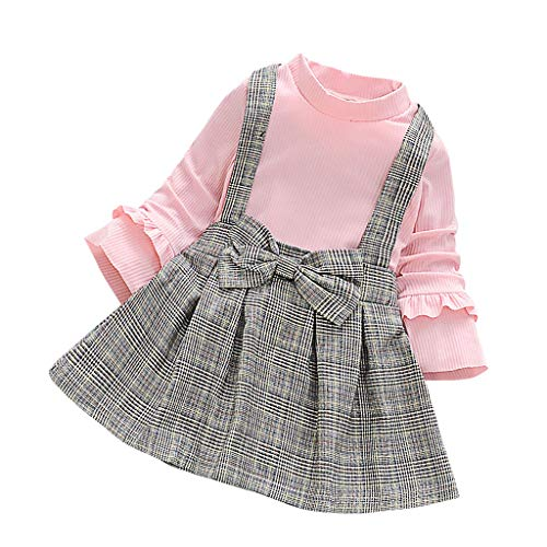3-24 Months Newborn Infant Baby Kids Girl Boy Striped Sleeveless Shirt and Suspenders Shorts Clothes Outfits Set (7-8 Years, Pink B)
