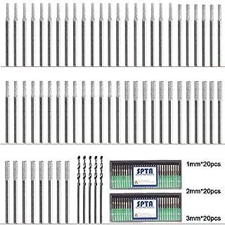 SPTA 60Pcs Diamond Drill Bit Burrs(20pcs 1mm, 20pcs 2mm, 20pcs 3mm) Diamond Grinding Head Mounted Burr Point Set with 5Pcs 3mm Twist Drill Bit For 1/8
